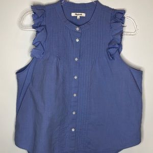 Madewell ruffle sleeveless button down top large